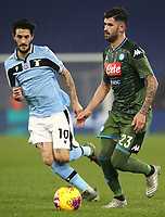 Football, Serie A: S.S. Lazio - Napoli, Olympic stadium, Rome, January 11, 2020.<br /> Napoli's Elseid Hysaj (r) in action with Lazio's Luis Alberto Romero  (l) during the Italian Serie A football match between S.S. Lazio and Napoli at Rome's Olympic stadium, Rome , on January 11, 2020.<br /> UPDATE IMAGES PRESS/Isabella Bonotto