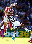 Ryan Shawcross of Stoke City tussles with Jose Salomon Rondon of West Bromwich Albion during the premier league match at the Hawthorn's Stadium, West Bromwich. Picture date 27th August 2017. Picture credit should read: Simon Bellis/Sportimage