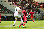 Akande, Alexander Oluwatayo of Hong Kong (R) fights for the ball with Tareq Khattab of Jordan (L) during the International Friendly match between Hong Kong and Jordan at Mongkok Stadium on June 7, 2017 in Hong Kong, China. Photo by Cris Wong / Power Sport Images