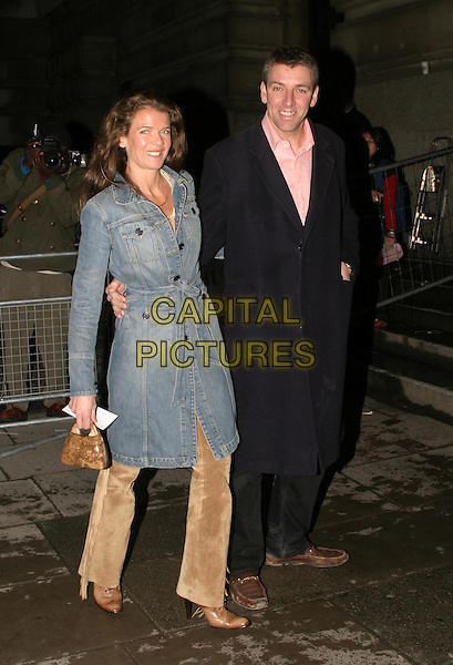 ANNABEL CROFT.The Saatchi Gallery's first anniversary party at County Hall which coincides with the launch of new exhibition New Blood.23 March 2004.full length, full-length, long denim coat.www.capitalpictures.com.sales@capitalpictures.com.© Capital Pictures.