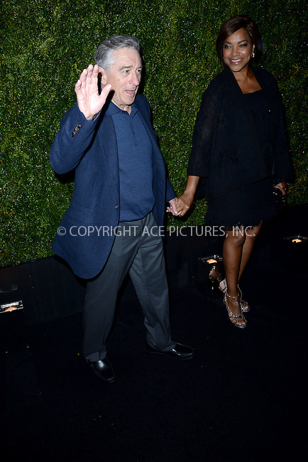WWW.ACEPIXS.COM<br /> April 20, 2015 New York City<br /> <br /> Robert De Niro and Grace Hightower attending the 2015 Tribeca Film Festival CHANEL Artists Dinner at Balthazer on April 20, 2015 in New York City.<br /> <br /> Please byline: Kristin Callahan/AcePictures<br /> <br /> ACEPIXS.COM<br /> <br /> Tel: (646) 769 0430<br /> e-mail: info@acepixs.com<br /> web: http://www.acepixs.com