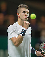 ABN AMRO World Tennis Tournament, Rotterdam, The Netherlands, 14 februari, 2017, Borna Coric (CRO) takes the first set and jubilates<br /> Photo: Henk Koster