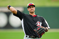 Joey Gallo (30) of the Hickory Crawdads warms up in the outfield prior to the game against the Kannapolis Intimidators at CMC-Northeast Stadium on April 14, 2013 in Kannapolis, North Carolina.  The Intimidators defeated the Crawdads 6-0.  (Brian Westerholt/Four Seam Images)