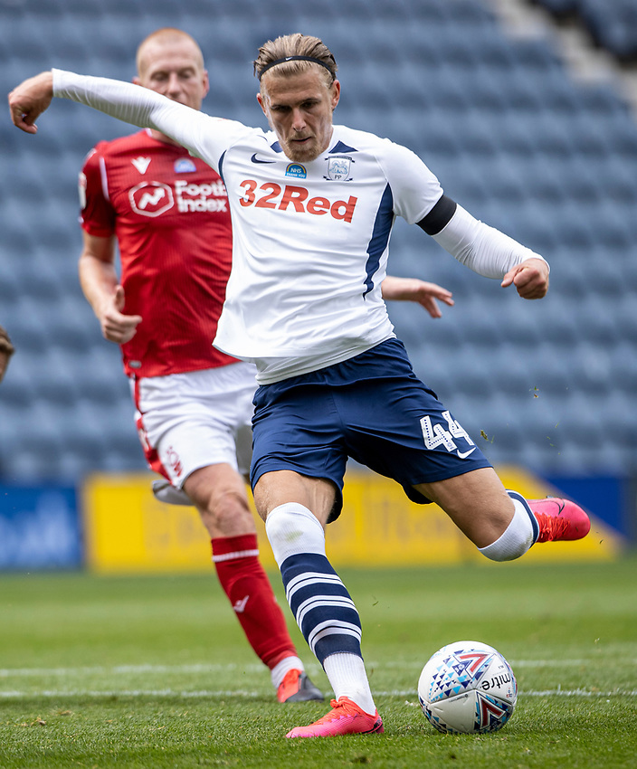 Preston North End's Brad Potts shoots at goal <br /> <br /> Photographer Andrew Kearns/CameraSport<br /> <br /> The EFL Sky Bet Championship - Preston North End v Nottingham Forest - Saturday 11th July 2020 - Deepdale Stadium - Preston <br /> <br /> World Copyright © 2020 CameraSport. All rights reserved. 43 Linden Ave. Countesthorpe. Leicester. England. LE8 5PG - Tel: +44 (0) 116 277 4147 - admin@camerasport.com - www.camerasport.com