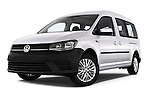 Stock pictures of low aggressive front three quarter view of 2015 Volkswagen Caddy Maxi Dark & Cool 5 Door Mini Mpv Low Aggressive