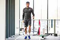 Jordi Amat of Swansea City carries weights during a gym session at The Fairwood training Ground, Swansea, Wales, UK. Tuesday 25 April 2017