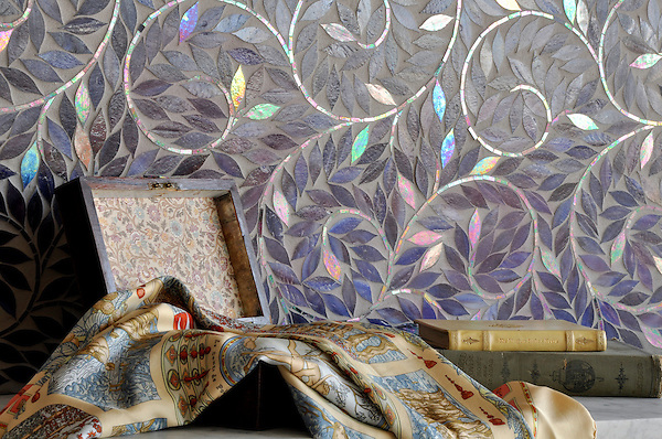 Jacqueline Vine, a handmade mosaic shown in Amethyst jewel glass, is part of the Silk Road® collection by New Ravenna.