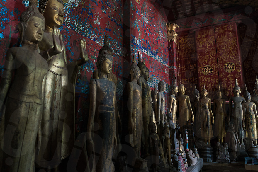 May 07, 2017 - Luang Prabang (Laos). Wooden statues inside the funeral chapel of Wat Xieng Thong. © Thomas Cristofoletti / Ruom