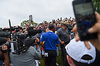 A happy Brooks Koepka (USA) is embraced by his girlfriend, Jena Sims after winning the 2019 PGA Championship, Bethpage Black Golf Course, New York, New York,  USA. 5/19/2019.<br /> Picture: Golffile | Ken Murray<br /> <br /> <br /> All photo usage must carry mandatory copyright credit (© Golffile | Ken Murray)