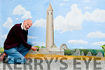 Rattoo Mural : Artist Bob Scott pictured at the mural of Rattoo Tower painted on a wall near Ballyduff Post Office.