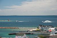 Mackinac Island's Lake Huron waterfront as seen from Fort Mackinac on Mackinac Island Michigan.