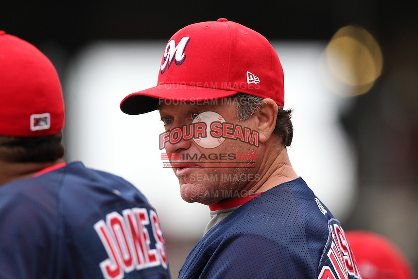 Memphis Redbirds coach Mark Budaska #34 during a game versus the Round Rock Express at Autozone Park on April 30, 2011 in Memphis, Tennessee.  Memphis defeated Round Rock by the score of 10-7.  Photo By Mike Janes/Four Seam Images