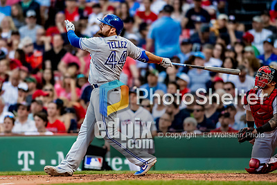 22 June 2019: Toronto Blue Jays first baseman Rowdy Tellez watches his solo home run clear the fences in the 7th inning against the Boston Red Sox at Fenway :Park in Boston, MA. The Blue Jays rallied to defeat the Red Sox 8-7 in the 2nd game of their 3-game series. Mandatory Credit: Ed Wolfstein Photo *** RAW (NEF) Image File Available ***