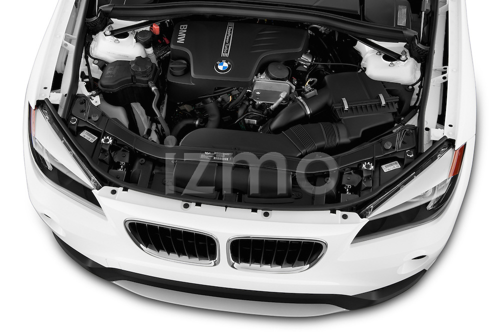 High angle engine detail of a  .2013 BMW X1 sDrive28i