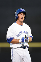 Dunedin Blue Jays outfielder Marcus Knecht (8) during a game against the Daytona Cubs on April 14, 2014 at Florida Auto Exchange Stadium in Dunedin, Florida.  Dunedin defeated Daytona 1-0  (Mike Janes/Four Seam Images)