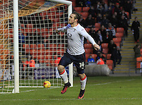 Jack Marriott of Luton Town wheels away in celebration after scoring the games opening goal during the Sky Bet League 2 match between Blackpool and Luton Town at Bloomfield Road, Blackpool, England on 17 December 2016. Photo by Liam Smith.