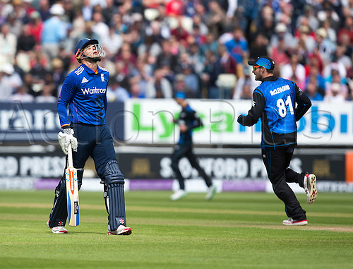 09.06.2015.  Birmingham, England. T20 One Day International. England versus New Zealand. Alex Hales of England walks of after being caught by Matt Henry of New Zealand.