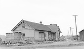 Depot at Pagosa Springs, CO.  Rails are long gone.<br /> D&amp;RGW  Pagosa Springs, CO  Taken by Peyton, Ernie S. - 3/27/1950