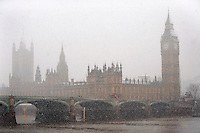 Houses of Parliment in the winter snow, London