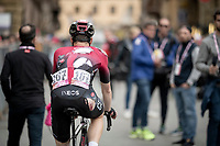 Salvatore Puccio (ITA/Ineos) crossing the finish line with the scars of the crash that also took down Dumoulin in the race finale<br /> <br /> Stage 4: Orbetello to Frascati (228km)<br /> 102nd Giro d'Italia 2019<br /> <br /> ©kramon