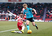 Kyle Dempsey of Fleetwood Town holds the ball during the Sky Bet League 1 match between Doncaster Rovers and Fleetwood Town at the Keepmoat Stadium, Doncaster, England on 17 February 2018. Photo by Leila Coker / PRiME Media Images.