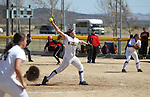 Western Nevada College's Alexia Alley pitches against Colorado Northwestern during a college softball game on Friday, April 6, 2012, in Carson City, Nev..Photo by Cathleen Allison