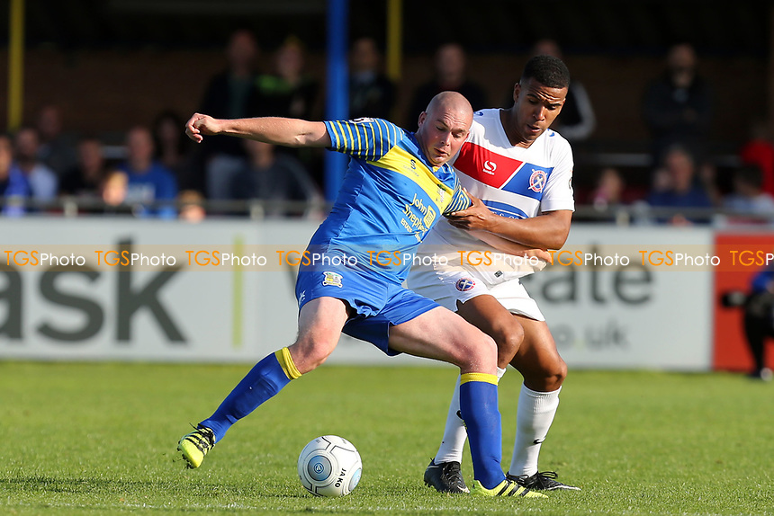 Richard Brodie ofSolihull Moors and Kevin Lokko of Dagenham during Solihull Moors vs Dagenham & Redbridge, Vanarama National League Football at the Autotech Stadium on 23rd September 2017