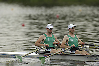 Poznan, POLAND.  2006, FISA, Rowing, World Cup, IRL, LM2X bow Tim HARNEDY and  Richard COAKLEY, move  away from  the  start, on the Malta  Lake. Regatta Course, Poznan, Thurs. 15.05.2006. © Peter Spurrier   ..[Mandatory Credit Peter Spurrier/ Intersport Images] Rowing Course:Malta Rowing Course, Poznan, POLAND