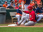 12 March 2014: Washington Nationals infielder Jamey Carroll slides into third with a triple in the third inning of a Spring Training game against the Houston Astros at Osceola County Stadium in Kissimmee, Florida. The Astros rallied in the bottom of the 9th to edge out the Nationals 10-9 in Grapefruit League play. Mandatory Credit: Ed Wolfstein Photo *** RAW (NEF) Image File Available ***