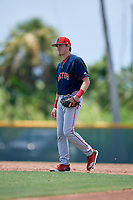 GCL Red Sox shortstop Karson Simas (17) during a Gulf Coast League game against the GCL Pirates on August 1, 2019 at Pirate City in Bradenton, Florida.  GCL Red Sox defeated the GCL Pirates 11-3.  (Mike Janes/Four Seam Images)