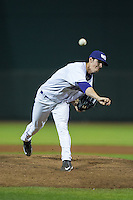 Winston-Salem Dash relief pitcher Danny Dopico (16) in action against the Myrtle Beach Pelicans at BB&T Ballpark on April 18, 2016 in Winston-Salem, North Carolina.  The Pelicans defeated the Dash 6-4.  (Brian Westerholt/Four Seam Images)
