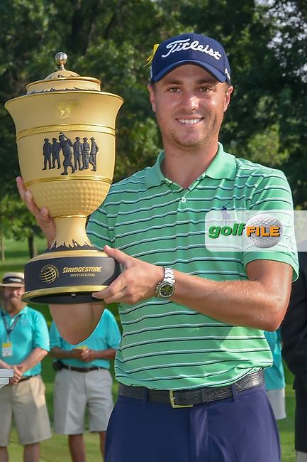 Justin Thomas (USA) holds The Gary Player Cup for winning the 2018 World Golf Championships - Bridgestone Invitational, at the Firestone Country Club, Akron, Ohio. 8/5/2018.<br /> Picture: Golffile | Ken Murray<br /> <br /> <br /> All photo usage must carry mandatory copyright credit (© Golffile | Ken Murray)