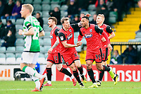 Wes Thomas of Grimsby Town (39) is congratulated after scoring the first goal during  Yeovil Town vs Grimsby Town, Sky Bet EFL League 2 Football at Huish Park on 9th February 2019