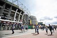 Bath Rugby supporters arrive at Twickenham. Aviva Premiership Final, between Bath Rugby and Saracens on May 30, 2015 at Twickenham Stadium in London, England. Photo by: Rogan Thomson for Onside Images