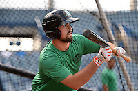 Daytona Tortugas pitcher Jackson Stephens (16) in the batting cage during practice before a game against the Tampa Yankees on April 24, 2015 at George M. Steinbrenner Field in Tampa, Florida.  Tampa defeated Daytona 12-7.  (Mike Janes/Four Seam Images)
