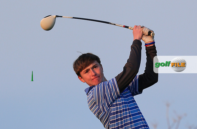 Bill Murray (UCC) on the 17th tee during Round 1 of the Irish Intervarsity Championship at Rosslare Golf Club on Wednesday 4th November 2015.<br /> Picture:  Thos Caffrey / www.golffile.ie