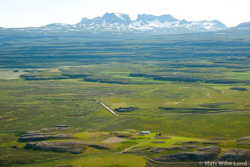 Kóreksstaðir séð til austurs, Dyrfjöll,  Fljótsdalshérað áður Hjaltastaðahreppur. /  Koreksstadir viewing east towards Dyrfjoll mountains. Fljotsdalsherad former Hjaltastadahreppur.