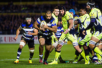 Kane Palma-Newport of Bath Rugby goes on the attack. Aviva Premiership match, between Bath Rugby and Sale Sharks on October 7, 2016 at the Recreation Ground in Bath, England. Photo by: Patrick Khachfe / Onside Images