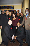 Gloria Ruben (ER) came to see the Black Gents of Hollywood who presented Layon Gray's Black Angels Over Tuskegee on the Second Anniversary of the play on February 18, 2012 at The Actors' Temple, New York City, New York. Cast - Left to Right Back: Delano Barboso, Layon Gray, Melvin Huffnagle, David Roberts, Lamman Rucker (As The World Turns & All My Children), Thom Scott II, Thaddeus Daniels, Reginald L. Barnes. Front: Steve Brustein and Ananias Dixon. (Photo by Sue Coflin/Max Photos)