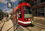 Portland Streetcar with a Wreath on the Front