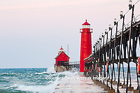 64795-01302 Grand Haven South Pier Lighthouse at sunrise on Lake Michigan, Ottawa County, Grand Haven, MI