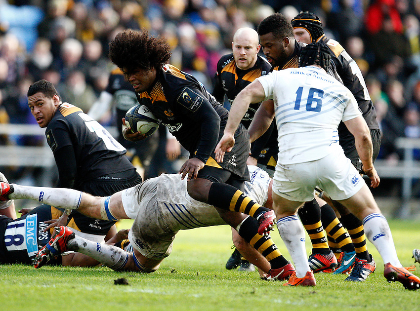 Photo: Richard Lane/Richard Lane Photography. Wasps v Leinster Rugby.  European Rugby Champions Cup. 24/01/2015. Wasps' Ashley Johnson attacks.
