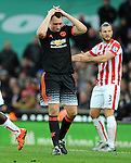 Phil Jones of Manchester United missed attempt on goal<br /> - Barclays Premier League - Stoke City vs Manchester United - Britannia Stadium - Stoke on Trent - England - 26th December 2015 - Pic Robin Parker/Sportimage