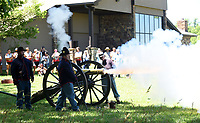 "NWA Democrat-Gazette/FLIP PUTTHOFF <br /> ""Remember the Renewall"" cyclists see a cannon demonstration Tuesday June 20 2017 during their stop at Pea Ridge National Military Park."