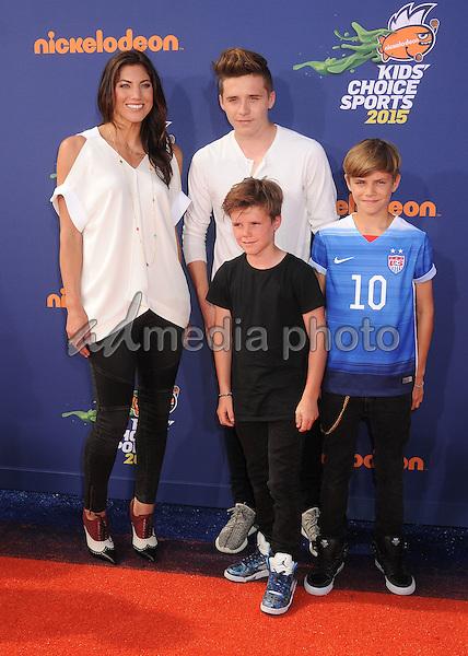 16 July 2015 - Westwood, California - Hope Solo, Romeo Beckham, Brooklyn Beckham, Cruz Beckham. Nickelodeon Kids Choice Sports Awards 2015 held at the UCLA Pauley Pavilion. Photo Credit: Byron Purvis/AdMedia