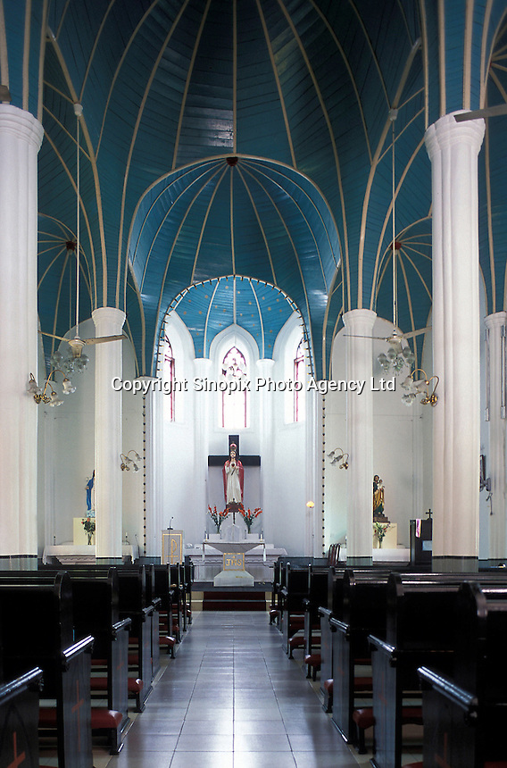 Interior, Catholic Church on Gulangyu Island, a former Foreign Concession port opposite to Xiamen City, China.  .\