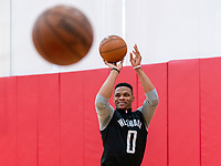 HOUSTON, TX - FEBRUARY 1: Russell Westbrook of the Houston Rockets takes a shot at Houston Rockets Training Center on February 1, 2020 in Houston, Texas.