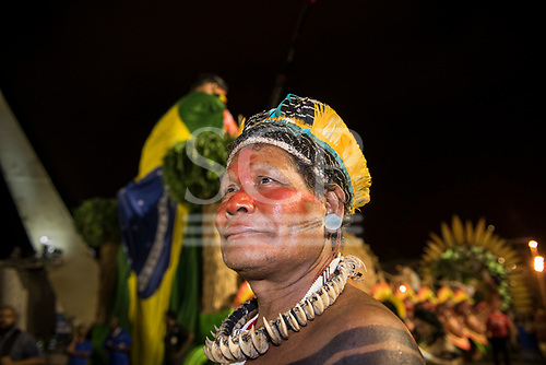 Imperatriz Leopolinense Samba School, Carnival, Rio de Janeiro, Brazil, 26th February 2017. Kreton Panará relaxes after the parade.