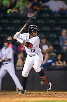 Ti'Quan Forbes (10) of the Hickory Crawdads at bat against the Rome Braves at L.P. Frans Stadium on May 12, 2016 in Hickory, North Carolina.  The Braves defeated the Crawdads 3-0.  (Brian Westerholt/Four Seam Images)