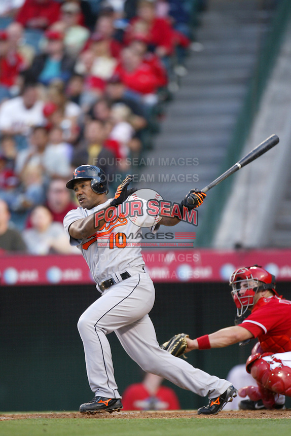 Miguel Tejada of the Baltimore Orioles during a game from the 2007 season at Angel Stadium in Anaheim, California. (Larry Goren/Four Seam Images)
